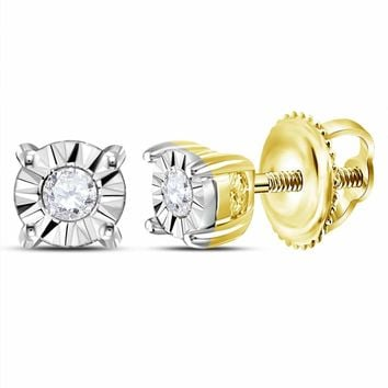 10kt Yellow Gold Women's Round Diamond Solitaire Illusion Earrings 1/20 Cttw