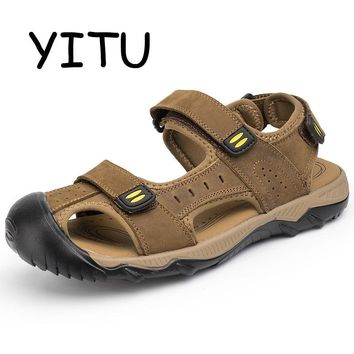 YITU 2018 New Men's Summer Beach Sandals Hiking Breathable Water Brand Genuine Leather Sandals Outdoor Man Sport Shoes Plus Size