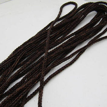 "Leather braided square cord.... 5 yards of Antique brown, 8 mm (5/16"") size,  577"