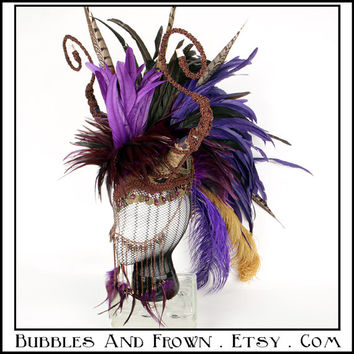 Opulent Dragoness... Honed Feather Mohawk in Purple and Brown