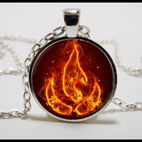 Fire Nation Necklace and silver pendant set - Avatar the last airbender jewelry - Avatar Fire tribe necklace