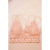 Lace Padded Bralette, Dusty Coral