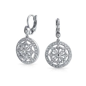 Sorcerer Circle Round Compass CZ Prom Dangle Earrings Silver Plated