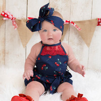 Navy Cherries Vintage Lace Bubble Romper & Headband Set - Infant & Baby Sizes!