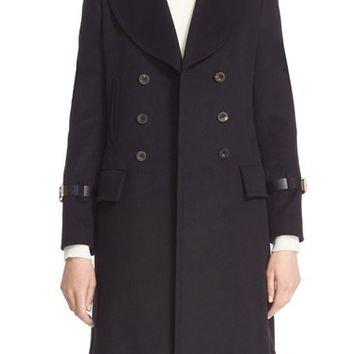 Belstaff 'Neel' Leather Trim Double Breasted Wool Blend Coat | Nordstrom