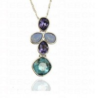 Multicolor Flower Austria Swarovski Crystal White Gold Plated Necklace - Swarovski Necklaces - Necklaces - Jewelry