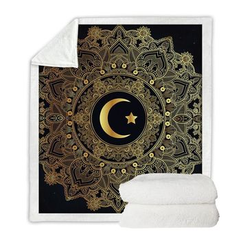 Crescent Moon Gold & Black Throw Blanket