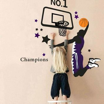 ONETOW Hot!! Basketball Dunk Sports Art  3D Wall Stickers Home Decoration DIY Vinilo Paredes Wall Stickers Home Decor Adesivo De Parede