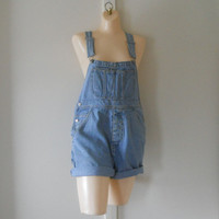 Denim Overall Shorts Denim Bib Overalls Women Overalls Denim Overalls Old School Shortalls Blue Jean Romper 90s clothing 90s Clothes Coverup