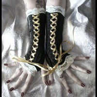 Time Traveler's Daughter Victorian Corset Laced Up Arm Warmers - Brown Pinstriped Velvet Ivory Lace & Pale Gold - Steampunk Vampire Wedding