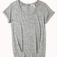 Marled Cuffed Sleeve Top