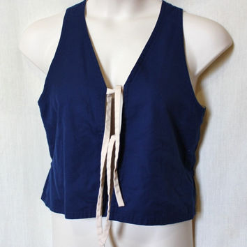 Blue Vintage Vest Reversible Tie Front Shirt White Women Large 70s