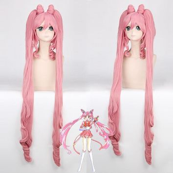 Pretty Soldier Sailor Moon Chibi Usa Long Straight Cosplay Wigs for Women Female Synthetic Hair Wig Two Ponytail and Bun Pink