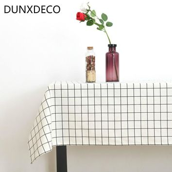 DUNXDECO Tablecloth Linen Cotton Table Fabric Cover Modern White Black Check Geometric Home Party Decoration Ground Photo Prop