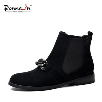 Donna-in women boots genuine leather natural suede ankle boots  low heels Chelsea boots fashion metal chains spring ladies shoes