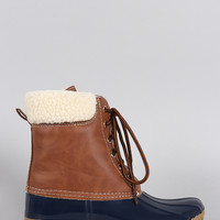 Faux Shearling Cuff Lace Up Duck Ankle Boots