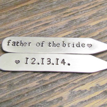 Collar Stays Personalized Gift for Dad Groomsmen Gift Father of the Groom Father of the Bride Aluminum Silver Metal Hand Stamped Custom