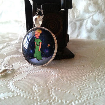 The Little Prince Necklace - Pendant - Silver Long Necklace Large pendant