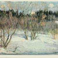 Track of Wolf- Winter forest-Vintage Russian Postcard- Art work N. Romadin