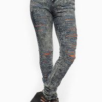 Tinted Acid Washed Shredded High Waist Skinny Jeans