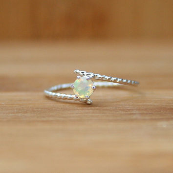 Opal Fiance Silver Ring Dainty Jewelry Handmade to Order