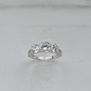 Silver Heart Basket Ring - Three Stone Ring - CZ  Engagement Ring - Cubic Zirconia Promise Ring  - Art Deco Ring - 3 Stone Ring