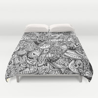 Black and white zentangle inspired art, Detailed rectangle, b&w doodle Duvet Cover by /CAM