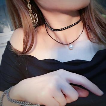 Punk Fashion Jewelry Rivet Velvet Choker Women Black Leather Cord Chocker Imitation Pearl Necklaces Pendants Handmade Jewelry