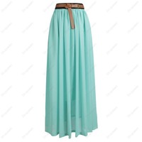Mint Natural Pink Khaki Beige Maxi Chiffon skirt from ♦STREETCARPET♦