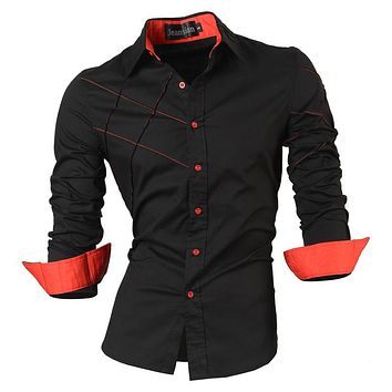 Men's clothing long sleeve social slim fit