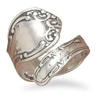 Oxidized .925 Sterling Silver Spoon Ring
