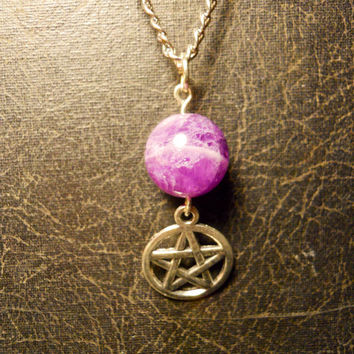 The Amethyst Good Witch Pentagram White Magic Talisman Necklace