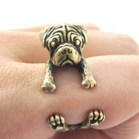 Realistic Pug Puppy Dog Shaped Animal Wrap Around Ring in Brass | Sizes 4 to 8.5