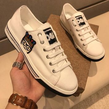 Dolce & Gabbana D & G Canvas Sneakers With Patches Of The Designers Cs15875268i716