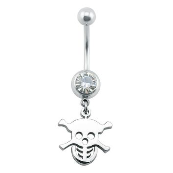 Skull belly piercing belly button rings surgical steel silver belly ring beach body jewelry women jewelry piercing navel fake