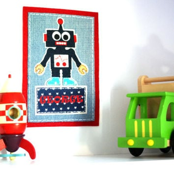 """Robot Kids Personalized Name Signs 9"""" x 7.5"""", Fabric Wall Decal, Door Plaques, Iron On Patch, Nursery Decor Ideas"""