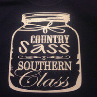 Country Sass and Southern Class Long Sleeve Glitter Tee