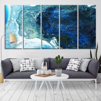 38277 - Extra Large Abstract Art | Modern Artwork | Ink Painting Art | Nautical Print Art | Blue Abstract Art | Framed Abstract Canvas