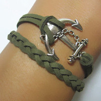 SALE  Bracelet--Antiqued Silver Anchor Bracelet & Military Green Braid Bracelet