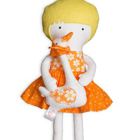 Cloth Doll Handmade Dress Up Doll Soft Doll with Geese, Rag Doll 12 inches My Fashion Doll, Orange white dotted skirt, Easter gift for Kids