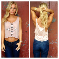 Pale Pink Aztec Print Crop Top