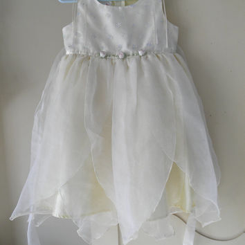 Girl Size 4T Dress Sheer Overlay Tulle Petal Hem Light Yellow Weddings Flower Girls' Special Occasion Toddler Girls' Photo Props Photography