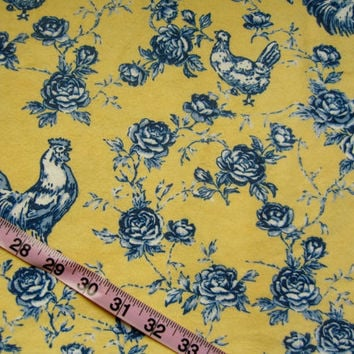 Flannel fabric with rooster chicken flower blue yellow cotton quilt print quilting sewing material to sew for crafting by the yard project