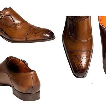 NEW Mezlan Men's Pisano Cognac Monk Leather Oxford Shoes