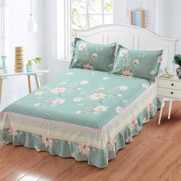 Princess Style Ruffled Tulle Bedding sets Bed Skirt Bedsheet Twin Full Queen King size Coverlet white blue Flower pillowcase