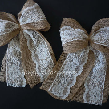 Burlap and Ivory Lace Wedding Bow Rustic Decor Church Aisle Wedding Decoration Bow Vintage Burlap Home Decor Burlap Wreath Bows