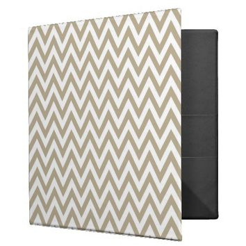 Trendy chic brown gray chevron zigzag pattern binder from Zazzle.com