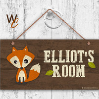 "Fox Sign, Woodland Personalized Sign,Kid's Name, Kids Door Sign, Baby Nursery Wall Decor, Weatherproof, 5"" x 10"" Sign, Made To Order"