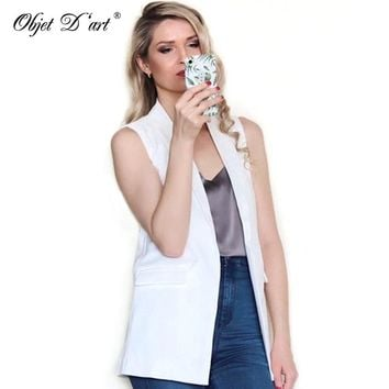 Summer Women Elegant Vest Fashion Sleeveless Jackets Casual veste femme Long Vest Outwear Brand Waistcoat colete feminino
