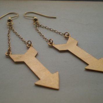 Arrow earrings. Brass arrows